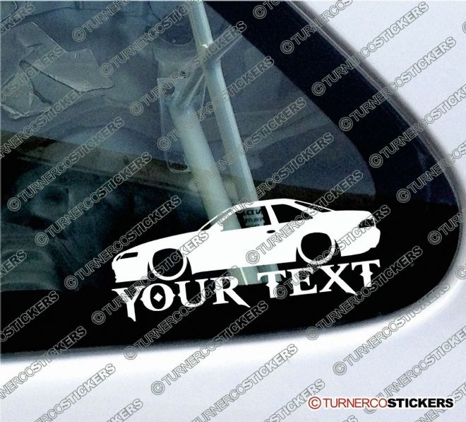 2x Custom YOUR TEXT Lowered car stickers - Toyota Soarer GT Coupe (Z30 1991-2000)